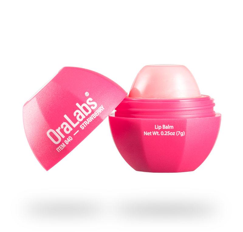 strawberry 840r rvo lip balm with custom logo open